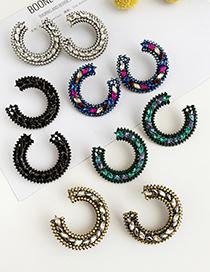 Fashion Blue Alloy Diamond Small Round Earrings