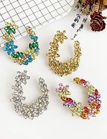 Fashion Color Alloy Studded U-shaped Earrings