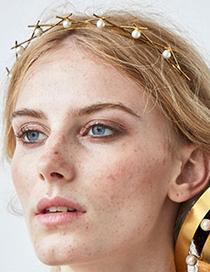 Fashion Golden Imitation Pearl Alloy Diamond Pearl Headband