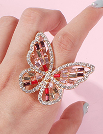 Fashion White K Alloy Openwork Butterfly And Diamond Ring