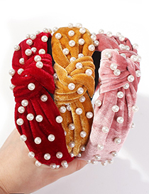 Fashion Red Gold Velvet Nail Pearl Knotted Headband