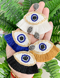 Fashion Creamy-white Resin Beaded Eye Tassel Earrings