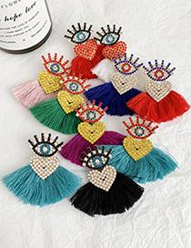 Fashion Black Alloy Diamond Eye Tassel Earrings
