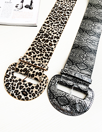 Fashion Leopard Pu Suede Animal Print Semicircular Shape Belt