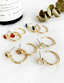 Fashion Champagne Alloy Round Diamond Earrings