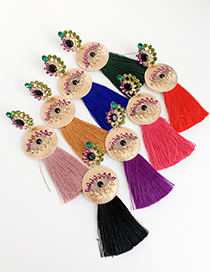 Fashion Leather Pink Alloy Studded Eye Tassel Earrings