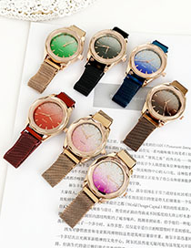 Fashion Rose Red Alloy Bright Watch