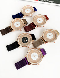 Fashion Brown Alloy Diamond Watch