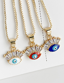 Fashion White Copper Inlay Zircon Eye Necklace