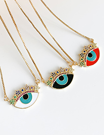 Fashion Black Copper Inlaid Zircon Eye Five-pointed Star Necklace