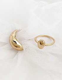 Fashion Gold Alloy Geometric Oval Ring