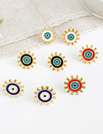Fashion White Copper Sun Eye Stud