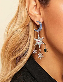 Fashion Golden White Diamond Alloy Star Moon Studded Tassel Earrings