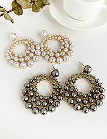 Fashion White Alloy Pearl Multi-layer Round Earrings
