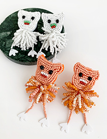 Fashion White Alloy Rice Beads Doll Earrings
