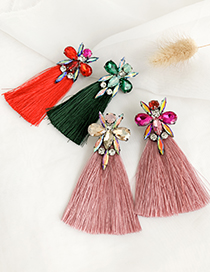 Fashion Leather Pink Alloy Studded Water Drop Two Tassel Earrings