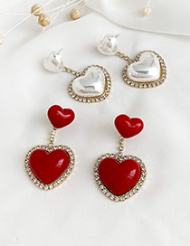 Fashion Red Alloy Diamond Resin Love Earrings