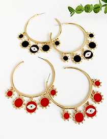 Fashion Red Alloy Dripping Circle Tassel Eye Stud Earrings