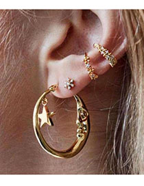 Fashion Gold (price Of Four) Alloy Ear Stud Earrings Four Piece Set