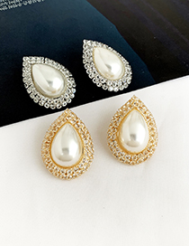 Fashion Silver Alloy Diamond Earrings With Pearl Drops