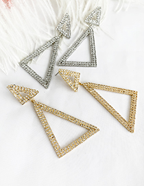 Fashion Silver Alloy Studded Triangle Stud Earrings