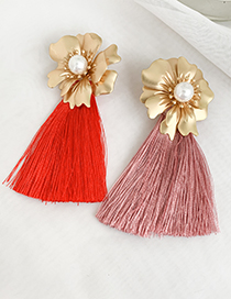 Fashion Leather Pink Alloy Pearl Flower Long Fringe Stud Earrings