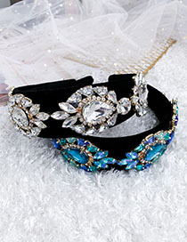 Fashion White Alloy Diamond Drop Hair Velvet Headband