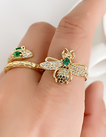 Fashion Golden Cubic Zirconia Bee Ring
