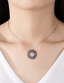 Fashion Color Geometric Ring Copper Inlaid Zirconium Necklace
