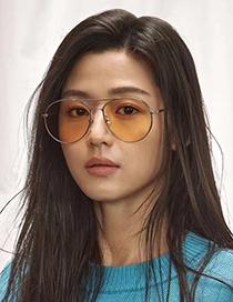 Fashion Silver Color Oval Shape Decorated Thin Legs Sunglasses