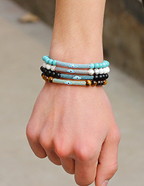 Fashion Blue+brown Eye Shape Decorated Beads Bracelet