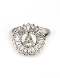Fashion Silver Color Letter K Shape Decorated Ring