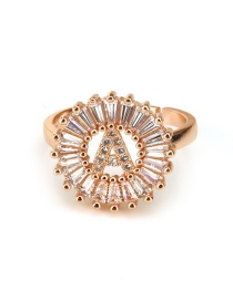 Fashion Rose Gold Letter F Shape Decorated Ring
