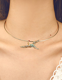 Fashion Gold Color Red-crowned Crane Decorated Simple Choker