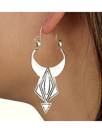 Fashion Silver Color Ox Horn Shape Design Pure Color Earrings