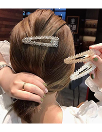 Fashion Blue Alloy Resin Crystal Triangle Hairpin