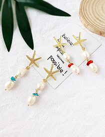 Fashion Red Alloy Pearl Starfish Earrings