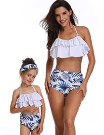 Fashion Adults Lick Pink Printed High-waist Ruffled Parent-child Swimsuit