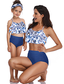 Fashion Child On White Leaves Printed High Waist Parent-child Swimsuit