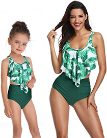 Fashion Adults With White Thread Printed High-waist Ruffled Parent-child Split Swimsuit