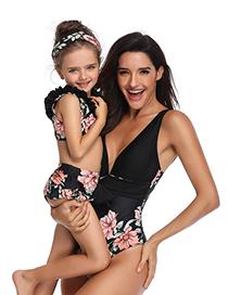 Fashion Children's White Piece Print Parent-child One-piece Swimsuit