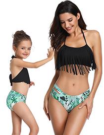 Fashion Adult Orange Tassel Fringed Split Parent-child Swimsuit