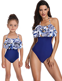 Fashion Child Purple Printed Conjoined Double Ruffled Parent-child Swimsuit