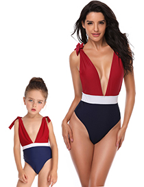 Fashion Adult Stitching Swimsuit Deep V High Fork Color Matching Parent-child One-piece Swimsuit