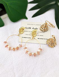 Fashion Gold Alloy Conch Crystal Natural Pearl Stud Earrings
