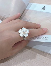 Fashion Silver Alloy Shell Flower Ring
