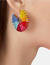 Fashion Color Alloy Rice Beads Round Earrings