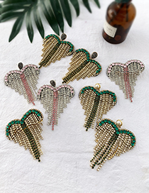 Fashion Green Alloy Diamond-studded Tassel Earrings