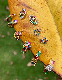 Fashion Gold Copper Inlaid Zircon Pentagonal Earrings