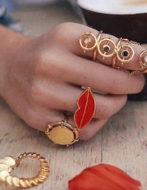 Fashion Gold Alloy Drop Oil Lips Ring